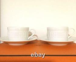 HERMES Tea Cup Saucer Egee Soleil White Tableware 2 set Ornament Porcelain New