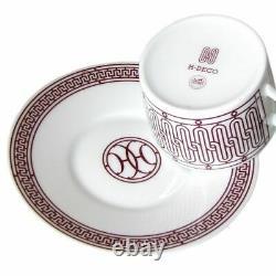 HERMES Tea Cup Saucer H DECO ROUGE Tableware 2 set Ornament Porcelain Coffee New