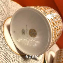 HERMES Tea Cup Saucer Mosaique Au 24 Tableware set Gold Ornament Porcelain New