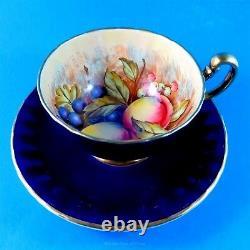 Handpainted Cobalt Fruit Center Signed D Jones Aynsley Tea Cup and Saucer Set