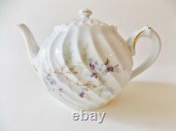 Haviland Limoges Orsay Teapot & Seven Cup Saucer Sets Lavender Purple White