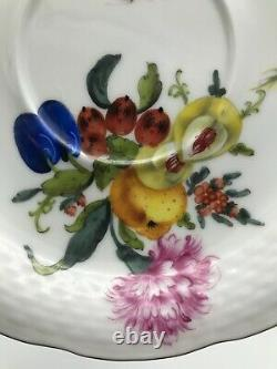 Herend Footed Cup and Saucer Set #734 Fruits & Flowers BFR Tea / Coffee Vintage