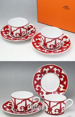 Hermes Guadalquivir Red Tea Cup Saucer Tableware 2 set Ornament Porcelain New