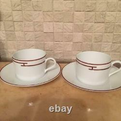 Hermes Porcelain Cup Saucer Rythme Red Tableware set Ornament Unused Tea Coffee