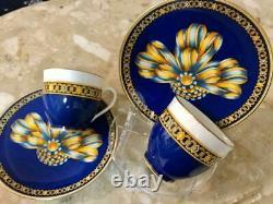 Hermes Porcelain Tea Cup & Saucer Set Cocarde de Soie 2 pieces