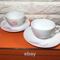 Hermes Tea Cup Saucer Pivoines Tableware 2 set Pink Petal Ornament Porcelain New