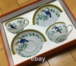 Hermes Toucans Tea Cup & Saucer Pair Set No Box From Japan