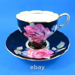 Huge Pink Rose on Black Corset Shaped Paragon Tea Cup and Saucer Set