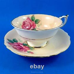 Huge Pink Rose on Peachy Pink Background Paragon Tea Cup and Saucer Set