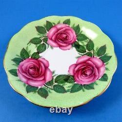 Huge Pink Roses on Green Background Royal Standard Tea Cup and Saucer Set