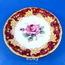 Huge Rose Center with Ornate Deep Red Border Paragon Tea Cup and Saucer Set