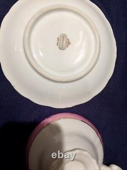 LM Royal Halsey Very Fine China 4 Set of Footed Tea Cup & Saucer, Gold Trim