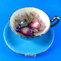 Light Blue Signed D. Jones Fruit Design Aynsley Tea Cup and Saucer Set