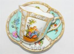 Meissen Quatrefoil Shape, Courting Couple Tea Cup & Saucer Set (Teacup)