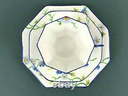 Melba Art Deco Hand Paint Blue Pansy Flower Handle Trio Set Tea Cup Saucer Plate