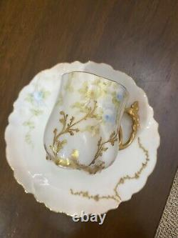 Mint Limoges France Tea Cup Saucer Set Raised Gold HP Rose Stunning