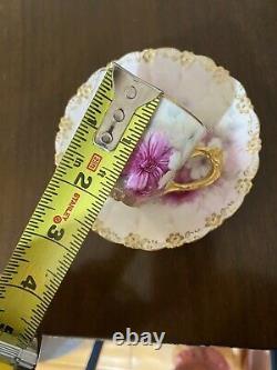 Mint Limoges T&V France Tea Cup Saucer Set Raised Gold HP Rose Stunning