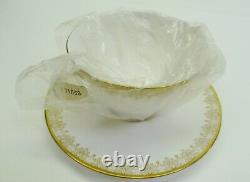 NEW Royal Doulton Gold Lace Ivory Gold Bone China Footed Tea Cup Saucer Set of 4