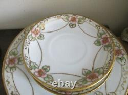 Nippon Handpainted Tea Set Of 5 Cup And Saucer Chocolate Pot Moriage Gold Roses