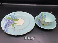 PARAGON CHINA BLUE LILAC TRIO SET- PLATE-CUP-SAUCER -BLUE BOWithRIBBON #2