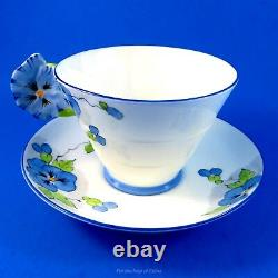 Painted Pansy Flower Handle Royal Paragon Blue Pansy Tea Cup and Saucer Set
