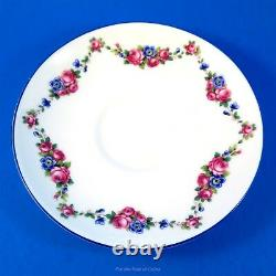Painted Pansy Flower Handle Royal Paragon Floral Garlands Tea Cup and Saucer Set