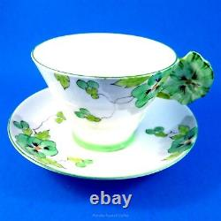 Painted Pansy Flower Handle Royal Paragon Green Pansy Tea Cup and Saucer Set
