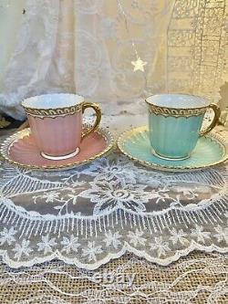 Pair Royal Crown Derby Demi tea Cup Saucer Pastel Green Pink Set