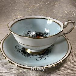 Paragon Art Deco Blue and Black Floral Tea Cup & Saucer Set