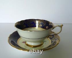 Paragon Cobalt Blue Pink Rose Tea Cup & Saucer Set