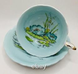 Paragon England Blue Water Lily Hand Painted Enameled Tea Cup & Saucer Set