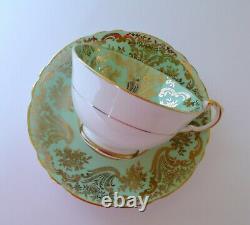 Paragon Green Red Rose Bone China Tea Cup & Saucer Set