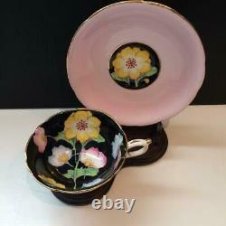 Paragon Peony Pink Hand Painted Tea Cup & Saucer Set Black Interior Cs14