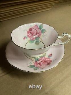 Paragon Pink Cabbage Rose On Tea Cup & Saucer Set Bone China