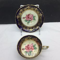 Paragon Pink Rose Blue Cobalt & Gold Tea Cup Saucer Set (Repaired)