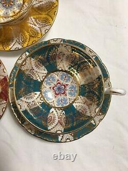 Paragon Set Of Three Tea Cup Saucer Gold Red Yellow