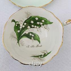 Paragon To The Bride Lily of the Valley Tea Cup and Saucer RARE SET mint Green