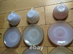 Pastel Arcopal FRANCE cups saucers Tea Set Vintage Milk Glass Opalescent