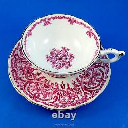 Pink Floral Design on White Coalport Tea Cup and Saucer Set
