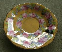 Queen Anne Heavy Gold Roses Teacup and Saucer Set Vintage Rare Tea Cup Gilt