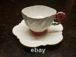 RARE AYNSLEY 1930s FLOWER HANDLE WHITE PINK TEA CUP & SAUCER Set GOLD TRIM