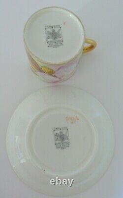 RARE Art Deco Paragon Orchids Gold Demitasse Tea Cup & Saucer Set