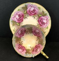 RARE Aynsley 13 Large Cabbage Pink Roses Heavy Gold Tea Cup & Saucer Set