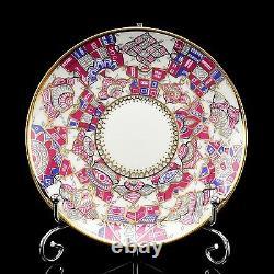 RUSSIAN Imperial Lomonosov Porcelain Set Tea Cup Saucer Pink Patterns Gold Rare