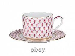 RUSSIAN Imperial Lomonosov Porcelain Set Tea Cup, Saucer, Teapot Net Blues Gold