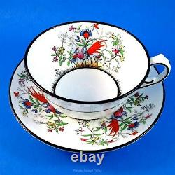 Rare Black Edge Handpainted Exotic Bird Melba Tea Cup and Saucer Set
