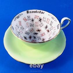 Rare Cup of Knowlwdge Aynsley Tea Cup and Saucer Set