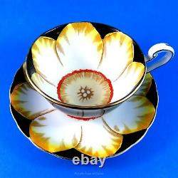 Rare Hand Painted Jonquil on Black Victoria Tea Cup and Saucer Set