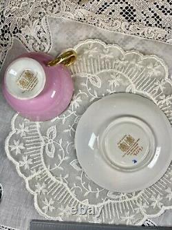 Rare Mint Paragon Rose Cabbage Gold Pink Tea Cup Saucer Set Duo Double Warrant