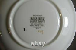Rare Paragon England Double Warrant White Orchid On Green Tea Cup & Saucer Set